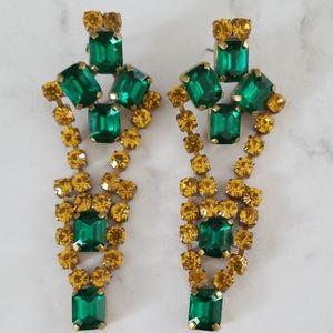 Vintage Czech Glass Chandelier Rhinestone Earrings